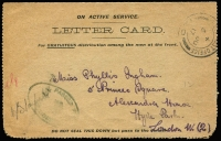 Lot 857:1915-16 Commonwealth Stamp Printing Office Letter Card Type II sent (1917 Jun 3) by soldier in France to London. [Between late 1915 and late 1916 Printing Office staff worked gratuitously on Saturday afternoons producing lettercards for servicemen.]