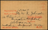 Lot 919:1916(C.) A.I.F. Envelope orange on buff wove stock, Emery Fig 75. Addressed but not used, fresh. Rare.