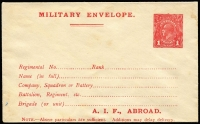 Lot 843:1916-17 1d Red Military Envelope Inscribed 'A.I.F. ABROAD' Setting 1, off-white to cream laid paper BW #ME3A, minor toning, fine overall, Cat $300. Note the electro has a white flaw on the O of POSTAGE making it different to the electro decribed in the handbook.