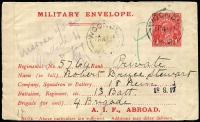 Lot 844:1916-17 1d Red Military Envelope Inscribed 'A.I.F. ABROAD' Setting 1, off-white to cream laid paper BW #ME3A, used at Woonona, NSW on 28AP17, censor label at left, Cat $400. Note the electro is the one described in the handbook.