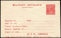 Lot 866:1916-17 1d Red Military Envelope Inscribed 'A.I.F. ABROAD' Setting 2, off-white surfaced laid paper BW #ME4A, fresh unused, Cat $300. Note the electro has a white flaw behind the roo's shoulder.
