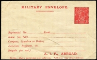 Lot 914:1916-17 1d Red Military Envelope Inscribed 'A.I.F. ABROAD' Setting 2, cream unsurfaced laid paper BW #ME4A, unused, Cat $300. Note the electro has a break in the bottom frame below the 2nd N of PENNY.