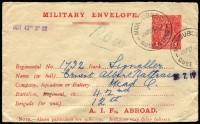 "Lot 848:1916-17 1d Red Military Envelope Inscribed 'A.I.F. ABROAD' Setting 2, cream unsurfaced laid paper BW #ME4A, used Mundubbera, Qld 27AP17, endorsed ""POW"" in green pencil, Cat $400. Note the electro has a break in the bottom frame below the 2nd N of PENNY."