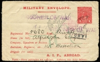 Lot 849:1916-17 1d Red Military Envelope Inscribed 'A.I.F. ABROAD' Setting 2, cream unsurfaced laid paper BW #ME4A, used Kyneton, Vic 24AP17, violet 'P