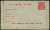 Lot 864 [2 of 2]:1916 1d Red KGV Sideface 'AUSTRALIAN IMPERIAL FORCE.' At the Base grey stock, white inside, electro has Dent in bottom frame at left etc, BW #LCM1, unused, minor soiling, Cat $500.