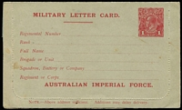 Lot 864:1916 1d Red KGV Sideface 'AUSTRALIAN IMPERIAL FORCE.' At the Base grey stock, white inside, electro has Dent in bottom frame at left etc, BW #LCM1, unused, minor soiling, Cat $500.