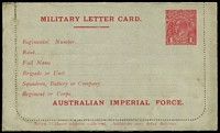 Lot 835:1916 1d Red KGV Sideface 'AUSTRALIAN IMPERIAL FORCE.' At the Base grey stock, white inside, electro has break in left frame opposite value shield, BW #LCM1, unused, minor water stains, Cat $500.