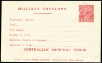 Lot 838:1916 (March) 1st Issue 'AUSTRALIAN IMPERIAL FORCE.' At the Base 1d carmine setting 1 with 9mm gap between MILITARY and 'Regimental Number' (electro has break in left frame and white flaws on E of POSTAGE & TR of AUSTRALIA), BW #ME1, fresh unused, Cat $300.
