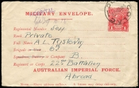 "Lot 839:1916 (March) 1st Issue 'AUSTRALIAN IMPERIAL FORCE.' At the Base 1d carmine setting 1 with 9mm gap between MILITARY and 'Regimental Number', this is the ""second"" type of this setting, BW #ME1, used at Colac, Cat $450. A small surface abrasion has made the word 'sufficient' appear to be 'sufficiet'. [This was the cover that gave rise to the erroneous listing of the Sufficiet variety in the catalogue.]"