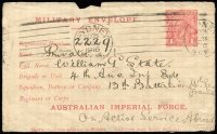 "Lot 865:1916 (March) 1st Issue 'AUSTRALIAN IMPERIAL FORCE.' At the Base 1d pale carmine setting 1 with 9mm gap between MILITARY and 'Regimental Number', BW #ME1, used at Sydney, Cat $450. This is the ""second"" type of this setting. Opened a little roughly."