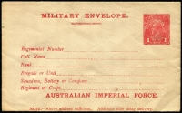 Lot 911:1916 (March) 1st Issue 'AUSTRALIAN IMPERIAL FORCE.' At the Base 1d carmine setting 2 with 19mm gap between MILITARY and 'Regimental Number', BW #ME2, fresh unused, Cat $1,500. Very rare.