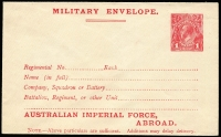 Lot 867:1917 4th Issue 'AUSTRALIAN IMPERIAL FORCE,/ABROAD' At Base setting 1 on off-white surfaced laid paper, BW #ME5A, fresh unused, Cat $300.
