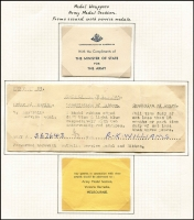 Lot 638 [2 of 4]:1949 4½d Defence Forces Wrapper group comprising [1] Army Medal Section 4½d unused; [2] Air Medal Section 4½d, 'MERCHANDISE ONLY' handstamp on face x2 (one unused) and unused without handstamp; and [3] documents that accompany the Army Service Medal. (7 items)