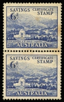 Lot 671:WWII 6d Blue Canberra War Memorial Savings Certificate Stamp vertical pair, some light toning, mild adhesions do not detract from this scarce pair.