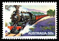 Lot 771 [2 of 2]:1979 Steam Locomotives valueless colour trial based on the 50c Pichi Richi design.