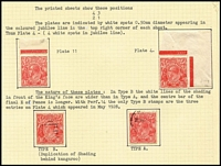 Lot 289 [1 of 4]:1½d Red Die II mainly used on well annotated pages with many varieties, most with plating information. Many catalogued flaws, noted P14 re-entry behind Roo, several void Corner including P14 Mullett imprint strip of 4 (3rd correction) Useful lot. (100s)