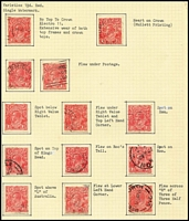 Lot 288 [1 of 3]:1½d Red Die I mainly used on well annotated pages with many varieties, most with plating information. Many catalogued flaws. Useful lot. (100s)