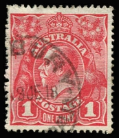 Lot 630 [1 of 8]:1914-22 Collection of 1d Red Dated Examples on smooth, semi-surfaced or rough papers, assembled in 4 large stockbooks from 12/7/14 to 2/8/22 apparently complete for the 1914-18 period, often several examples of each date included (sometimes more). Well presented, with quite a few Sunday cancels. Definite postmark interest, noted Armatree Railway & TPO South West (NSW) and Allambee & Homebush (Vic), with most dates being nice and clear. Wonderful opportunity to find some more interesting shades. (over 5,000)