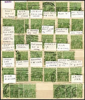 Lot 296 [3 of 3]:1d Greens & Reds in small stockbook mainly selected for varieties. Plus packets of checked 1d greens and 2d reds & 5d browns. (1,000s)