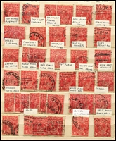 Lot 296 [1 of 3]:1d Greens & Reds in small stockbook mainly selected for varieties. Plus packets of checked 1d greens and 2d reds & 5d browns. (1,000s)
