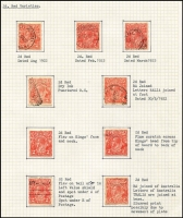 Lot 292 [3 of 5]:2d Orange, Brown & Red Die I, II & III mainly used on well annotated pages with many varieties, most with plating information. Several catalogued flaws, noted 2d red Dry ink, 2d red Die III perf 'OS' imprint block of 4 SWM P13½x12½. Useful lot. (72 items)
