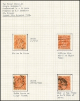 Lot 292 [1 of 5]:2d Orange, Brown & Red Die I, II & III mainly used on well annotated pages with many varieties, most with plating information. Several catalogued flaws, noted 2d red Dry ink, 2d red Die III perf 'OS' imprint block of 4 SWM P13½x12½. Useful lot. (72 items)