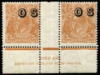 Lot 682 [2 of 2]:5d Orange-Brown from Plate 3, imprint block of 4 with variety at 3R55 BW #127(3)z, very fresh, plus Plate 2 'OS' imprint pair, Cat $475. (2 blks)