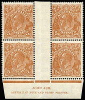 Lot 682 [1 of 2]:5d Orange-Brown from Plate 3, imprint block of 4 with variety at 3R55 BW #127(3)z, very fresh, plus Plate 2 'OS' imprint pair, Cat $475. (2 blks)