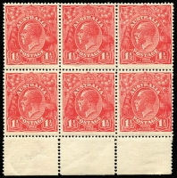 Lot 281 [1 of 5]:1½d Red Die I Electro 17 mint blocks, imprint pair, pair [17R43-44] unit 43 Gash in left frame & kangaroo, block of 4 [17R2-4,9-10] unit 3 Scratched electro, block of 4 (some stains) [17R21-22,27-28] all 4 with catalogued Damaged or retouched corners, marginal block of 6 [17R52-54,28-60] unusual block with small perf holes around stamps and large perf holes in margin. (5 blocks)