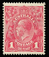 Lot 687:1d Carmine-Pink (G101) Cooke Printing BW #73A, well-centred with good perfs, mint, minor gum adhesions, Cat $500.