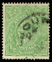 Lot 589:½d Green Comb Perf Electro 2 variety Crack through 'P' of 'POSTAGE' [2R35] BW #63(2)j, FU with good perfs Cat $2,250.