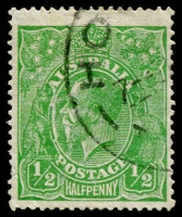 Lot 622:½d Green Comb Perf Electro 2 Crack through oval in front of face - late state [2R47], BW #63(2)k, tiny hinge thin, attractive appearance, Cat $2,500.