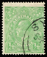 Lot 613:½d Green Comb Perf Electro 3 variety Clubbed fraction bar at left [3R11] BW #63(3)j, Cat $1,250.