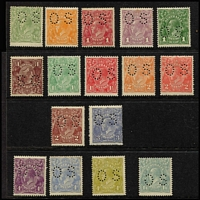 Lot 566 [2 of 2]:½d to 1/4d Perf 'OS' MUH set almost complete, missing 1d red Die II, 1d red Rough Paper, ½d green Single Line Perf, 1½d black-brown, 1½d bright red-brown, 3d Die Ia, 4d orange, 4½d violet & 5d Rough Paper. 1½d brown is Wmk Inverted, 1/4d is short stamp (due to double perf?). Total Retail $2,900+. (17)