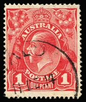 Lot 570:1d Carmine-Red (G1) Line Perf major variety Die II, BW #70A(1)i, Buffalo cds of 11DE14, Cat $5,000. One of Australian philately's rarities. Drury certificate (2016).