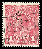Lot 234:1d Carmine-Rose (G30) Smooth Paper Substituted cliché Die I BW #71V(2)ka, with unidentified '?'-shaped commercial perfin.