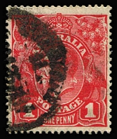 Lot 641:1d Scarlet (G19) Smooth Paper with Pre-Substituted cliché [IV/34], ACSC #71I(2)j, good perfs, Cat $750.