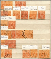 Lot 312 [2 of 4]:2d Orange and a few 2d red, 5d brown & ½d green in small stock book of mainly varieties, plus 900 2d orange in bundles all marked as checked. (1,000s)