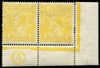 Lot 663:4d Lime-Yellow Plate 1 CA Monogram corner pair, BW #110D(1)zb, some perf separation and light creasing. Unpriced.