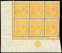 Lot 662:4d Orange 'JBC' Monogram block of 6, Wmk Inverted BW #110a(2)z, bottom centre unit variety White spot on diagonal of '4' at left [2L56], centre (monogram) unit MUH, minor perf separation, Cat $2,000+. Very rare combination.