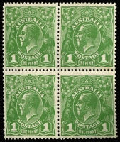 Lot 730:1d Green Wattle line - State IV - 9mm of upper right frame missing BLC unit in block of 4, bottom right unit has Nick near top of left frame retouched, BW #81(4)fc, both varietal units MUH, the paper is the uncatalogued Translucent paper, Cat $6,000++. A very rare variety in a nice postional block.