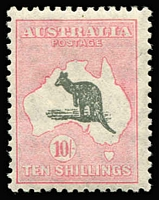Lot 556:10/- Dark Grey & Aniline Pink BW #50E, MLH, Cat $2,750.
