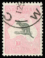 Lot 555:10/- Grey & Aniline Pink BW #50D, neat cds, Cat $750. Drury certificate (2018).