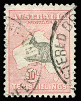 Lot 618:10/- Grey & Pink BW #50, well centred with good perfs, Cat $300.