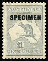 Lot 621 [2 of 3]:10/- To £2 overprinted 'SPECIMEN' Type D, BW #50xe,54x,58x, Cat $295. (3)