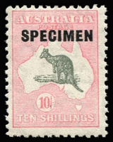 Lot 621 [3 of 3]:10/- To £2 overprinted 'SPECIMEN' Type D, BW #50xe,54x,58x, Cat $295. (3)
