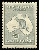 Lot 557:£1 Grey BW #54, regummed, Cat $1,000.