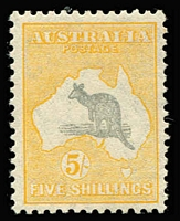 Lot 554:5/- Grey & Yellow-Orange with vignette plate flaw Ewe-faced kangaroo [L10] BW #46(V)fa, but with grass completely corrected, MLH, Cat $800