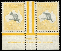 Lot 616:5/- Grey & Yellow Ash imprint pair with Open-mouthed kangaroo, BW #46zc, Cat $2,000.