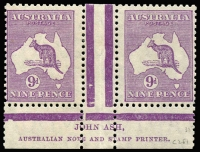 Lot 613:9d Violet Plate 3 first State Ash 'N' over 'N' imprint pair BW #29(3)za, Cat $250.